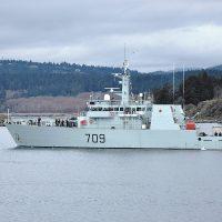 HMCS Saskatoon leaves Esquimalt Harbour, passing Fisgard Lighthouse for Operation Caribbe, Canada's contribution to combat the international drug trade. Photo by SLt Melissa Kia, MARPAC Public Affairs