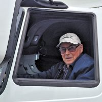 Transport and Electrical Mechanical Engineering (TEME) employee Jackson Filtness celebrated his 75th birthday Oct. 23 by driving one of his unit's big rigs. A former truck driver for TEME and Canadian National Railways, Filtness has enjoyed 51 years of public service. He currently drives a base taxi cab. Photo by TEME