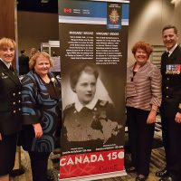 Cdr Michele Tessier, Margaret and Alyson Brooke, and Commander Canadian Fleet Atlantic Cmdre Craig Skjerpen.