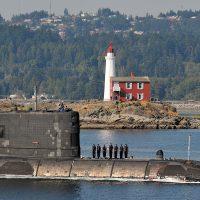 HMCS Victoria near Fisgard Lighthouse. Photo by Cpl Michael Bastien