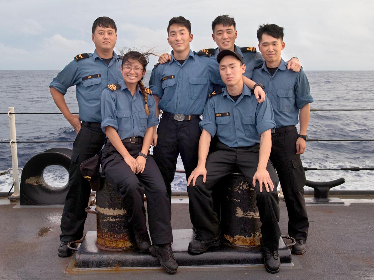 Back row: LS Kim, AB Park, SLt Hahm, and SLt Yun. Front row: SLt Lee and LS Moon.  Photo by Leading Seaman Victoria Ioganov