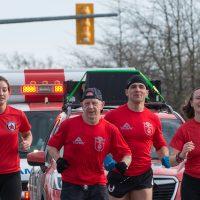 Ashley Duncan, Dan Bodden, Steve Deschamps, and Rebecca Schillemat participate in a Wounded Warrior Run BC training run on Feb. 9. Photo by John W. Penner, John's Photography