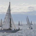 HMCS Oriole sails towards the start line of the Swiftsure International Yacht Race at Clover Point, Victoria, British Columbia on 24 May 2014.