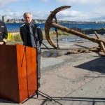 Director of the Naval Museum of Halifax, Richard Sanderson, and RAdm John F. Newton, Commander Joint Task Force Atlantic and Maritime Force Atlantic, make a media announcement about the discovery of a historic anchor.