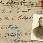 The envelope of a letter sent to Bella from her brother Fred during the First World War. Inset: A portrait of Ed Grant in his service uniform.