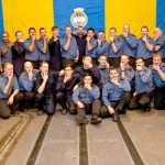 HMCS Vancouver crew members show off their moustaches in the hangar of the ship on Nov. 25 while on their way to Vancouver. Crew members went without shaving for the month to raise awareness and more than $800 for Prostate Cancer.