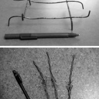 These images show the size and nature of the spikes being deliberately placed in the base sports fields. The pens are shown for scale.