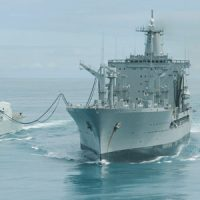 HMCS Vancouver (left) pulls alongside Chilean replenishment ship AO-52 Almirante Montt to practice Replenishment-at-Sea procedures in the waters off Vancouver Island.
