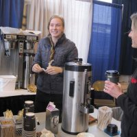 Serious Coffee vendors offer free coffee and tea and the trade show.