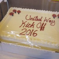 The United Way celebratory Kick Off cake for 2016.