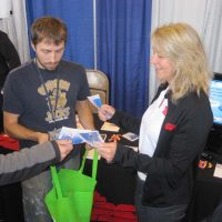 PSP Recreation hands out swag at the trade show.