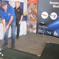 Ericks Goodall booth offering mini putt golf at the trade show.