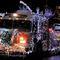 fire truck decorated in christmas lights