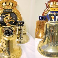 Ships' bells from the two former HMCS (Her Majesty's Class Ships) the Protecteur and the Algonquin.