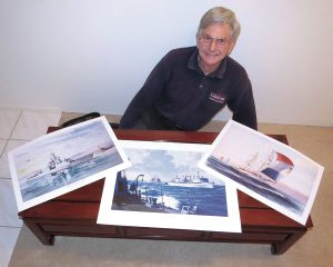 Artist John Horton displays unsigned prints of former HMCS Algonquin, former HMCS Protecteur and HMCS Oriole in his Vancouver home. Horton will be selling his prints at the Maritime Museum of B.C.'s garage sale on April 23.