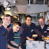 From left to right: New Zealand sailors Able Marine Technician (AMT) Vance Bell, AMT Robert Jackson, AMT Tomi Fataaiki and Ordinary Marine Technician Damon Dick-Carson work on board HMCS Ottawa.