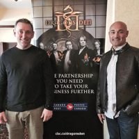 CPO1 Alan McNaul (left) and business partner Victor Cunha pose for a photo at the Dragon's Den audition.