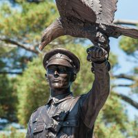 Detail of the statue unveiled to commemorate Company Sergeant-Major Francis Pegahmagabow's contribution to the Canadian Armed Forces. Photo by MCpl Precious Carandang