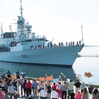 HMCS Fredericton arrives home in Halifax on July 5 after a six-month deployment on Operation Reassurance. Photo by DND
