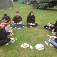Students enjoy lunch at Raven Culture Camp in Nanoose Bay. Photos by Rachel Lallouz