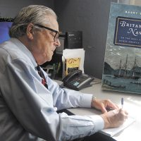 Author and Emeritus professor of History at Wilfrid Laurier University, Barry Gough at work in his office.