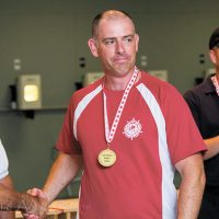 Captain Mark Hynes takes the gold medal for 25m Standard Pistol shooting at the 2016 Canadian National Pistol Championships in Toronto. Photo by Aaron Burns