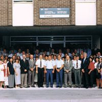 Members of the then named Canadian Forces Personnel Support Agency, now the Canadian Forces Morale and Welfare Service, pose outside their headquarters in Ottawa in 1996. The organization is celebrating their 20th anniversary this year. Photo courtesy of CFMWS