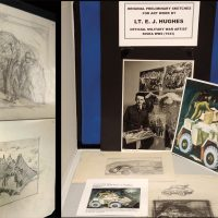 A display of E.J Hughes sketches and the finished painting entitled Armoured Car, painted in 1946, are on display at the Ashton Armoury Museum.  Hughes was a Second World War artist and the painting pictured above shows an armoured car receiving maintenance by a Royal Canadian Dragoons' member. Photos by Jazz Campbell