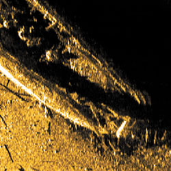 Sonar pictures of the historic Franklin shipwreck as it rests at the bottom of the ocean. Photo © Parks Canada