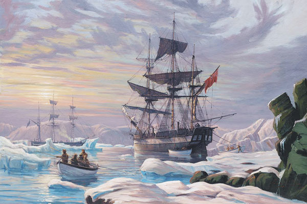 Franklin Expedition's HMS Erebus and HMS Terror by Canadian marine artist  John M. Horton. Credit John Horton