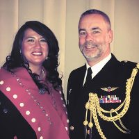 Lisa deWit poses for a photo with RAdm William Truelove, Commander of the Canadian Defence Liaison Staff (Washington) and Canadian Defence Attache, following her address at the Girls Can Do Event.