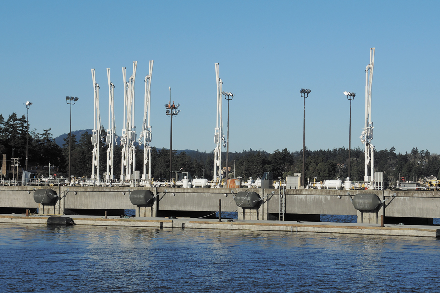 Once fully installed, the wave attenuating breakwater will rest 14 feet below the waterline with just 18 inches visible above the surface. Photos by Peter Mallett, Lookout