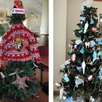 Left to right: HMCS Regina's winning entry in this year's Formation Christmas Tree Competition is displayed at the Fleet Club. HMCS Ottawa won an honourable mention for dressing up their Christmas tree like an Ottawa Senator's hockey player. The Dental Unit Detachment's entry is displayed at the Chief and Petty Officer's Mess. Formation Safety and Environment's winning entry in the Best Charlie Brown Tree category.