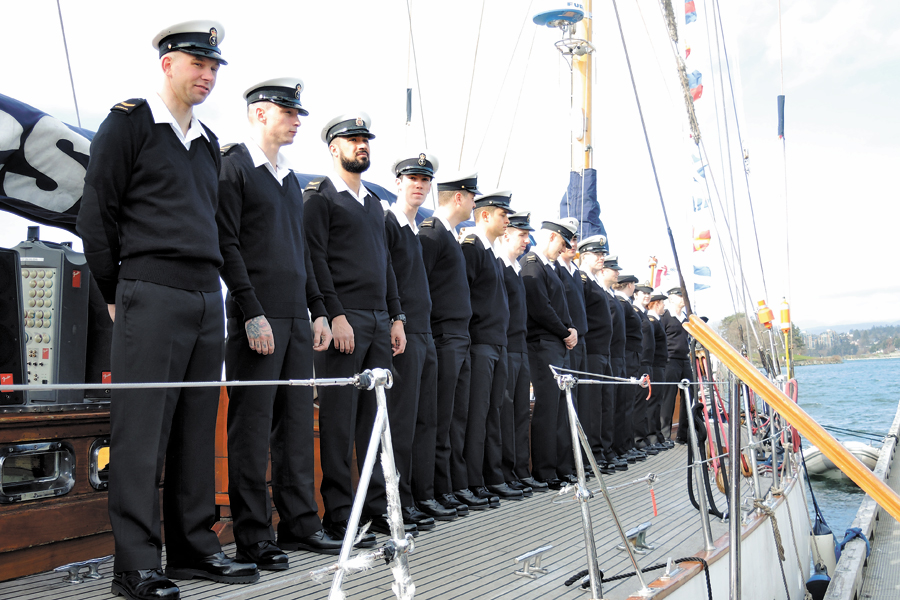 The crew of HMCS Oriole participated in a Pre-Deployment Ceremony at Ship Point in Victoria's Inner Harbour on March 10. Photo by Peter Mallett, Lookout