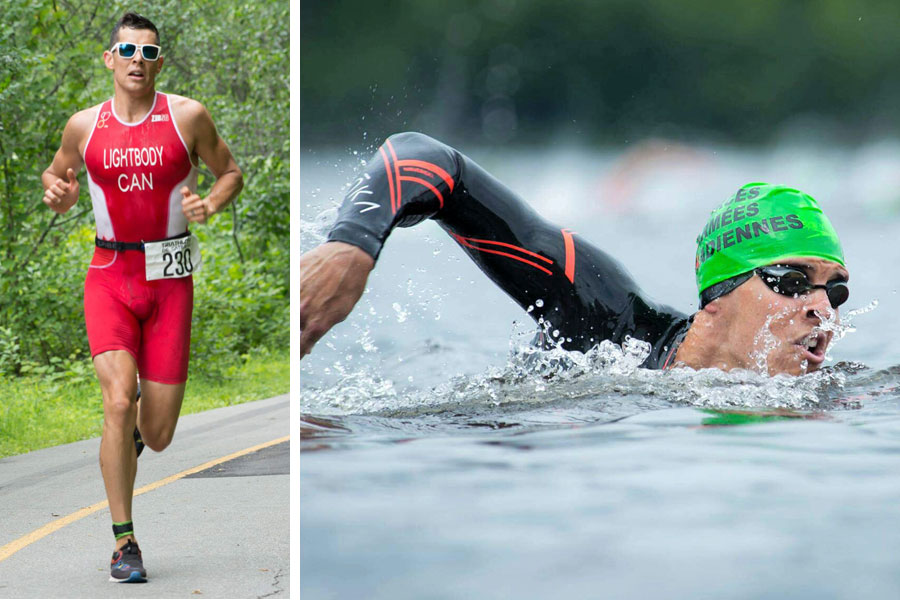 Left: Lt(N) Nico Lightbody competes in the 10-kilometre run portion of the CAF 2017 National Triathlon Championship, July 7, Gatineau, Que. Photo by Cpl Michael MacIsaac Right: Lightbody navigates his way through the 1.5-kilometre water course. Photo by Cpl Stuart Evans, DND
