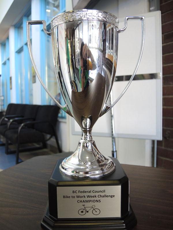 The newly created Bike To Work Week Trophy on display before a trophy presentation at the Naden Athletic Centre. Photo by Peter Mallett, Lookout Newspaper