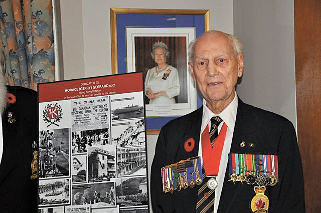 Battle of Hong Kong survivor Gerry Gerrard, 95, was the guest of honour during a plaque dedication ceremony at the Royal Canadian Legion Branch #127 on the evening of Nov. 7. The  Hong Kong Veterans Commemorative Association dedicated a plaque in honour of Gerrard's service to the Legion and the people of Canada during the Second World War Battle of Hong Kong. Photo by John Yankoski