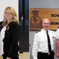 Left photo: Chief Petty Officer First Class Michael Miller, centre, is promoted to his current rank by Rear-Admiral Art McDonald, Commander Maritime Forces Pacific, and CPO1 Miller's wife Toni. Right photo: CPO1 Simon Lepage, centre, is promoted to his current rank by Commodore Steve Waddell, right, Director General Naval Strategic Readiness, and Command Chief Petty Officer, CPO1 Michel Vigneault.
