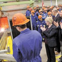Federal Procurement Minister Carla Qualtrough was on hand to officiate the start of construction on the future HMCS Max Bernays, the third Arctic and Offshore Patrol Vessel being built for the navy. Photo by LS Dan Bard, FIS Halifax