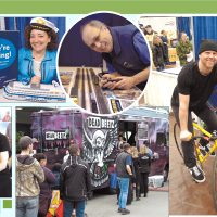 Clockwise from top left: Dana Tremblay displays job opportunities available at B.C. Ferries. Pierre Boucher of the CFB Esquimalt Model Railway Club gets his locomotives on track. Trevor Ball of Fort Street Cycle shows off a bike. Patrons line up at the Deadbeetz food truck for a free lunch. Karl Schneider, Registered Massage Therapist at The Spa at Delta Ocean Pointe Resort, gives a massage. Photos by Peter Mallett, Lookout