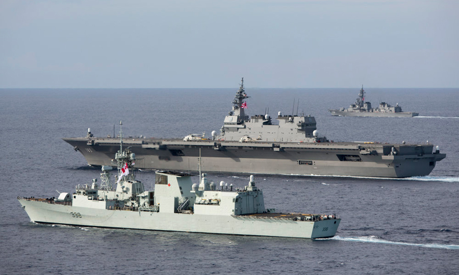HMCS Winnipeg sails in formation with the Japanese Navy's JS Izumo and Sazanami during a Passage Exercise in the South China Sea, which included ships from the United States, Canada, Japan and Australia. Photo by LSIS Bradley Darvill