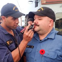 It was 20 years in the making, and a mere minute to lose, but it was all worth it in the end. PO1 Darren Peat's mustache succumbed to a $,6,225 fundraising goal, and the sailor braved the shaved on HMCS Regina's flight deck. Photo courtesy HMCS Regina