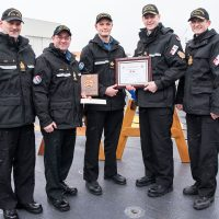 From left: CPO1 Barry Eady, HMCS Charlottetown Coxswain; CPO1 Daniel Mercier, Fleet Chief; MS Stewart Riggs, the Atlantic Fleet's new Sailor of the Year; Cmdre Craig Skjerpen, and Cdr Nathan Decicco, Commanding Officer of HMCS Charlottetown. Photo by Mona Ghiz, MARLANT PA