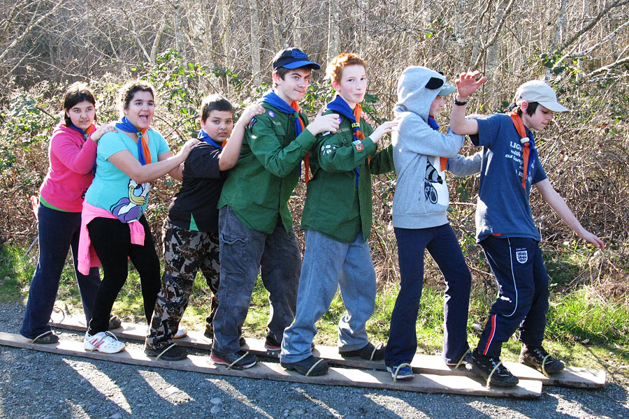 Members of the 10th Juan de Fuca Scout Troop participate in a Klondike Derby event at Royal Roads University, March 7, 2015. Photo credit: Dorthy Rosenberg