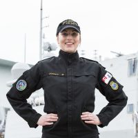 AB Bridgett Doucett, a NESOP in HMCS Montreal, is a mentor for this year's Canadian Forces Aboriginal Entry Program in Halifax. Photo by Mona Ghiz, MARLANT PA