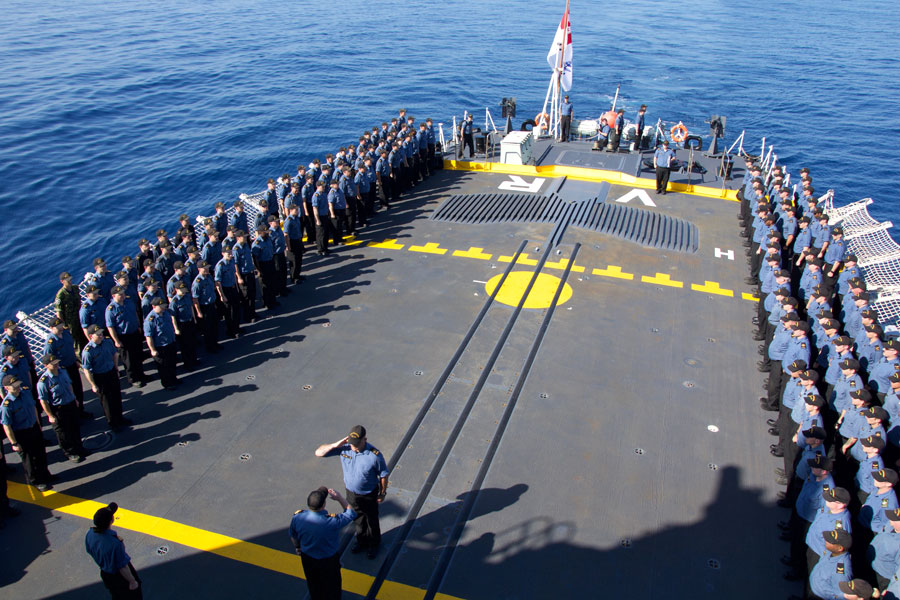 The crew of HMCS Vancouver form up for the Battle of the Atlantic parade in honour of the Battle of the Atlantic, on Operation Projection Indo-Asia Pacific, South China Sea, May 2. Photo by LS Nick Korbel, HMCS Vancouver