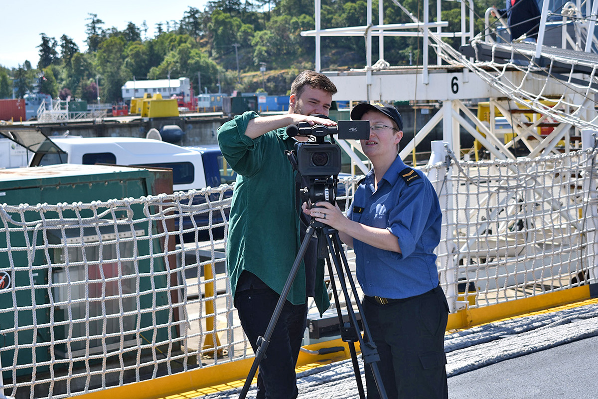 Joshua Paul, a videographer from the Naval Training Development Centre, and LS Sabrina Wyns. Photo by Master Seaman D. Ann Marie Aird