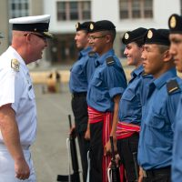 Rear-Admiral Bob Auchterlonie, Commander of Maritime Forces Pacific, inspected the platoon and addressed each graduate.