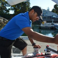 NCdt Marc Mahadeo takes his turn cranking the winch on board STV Goldcrest.