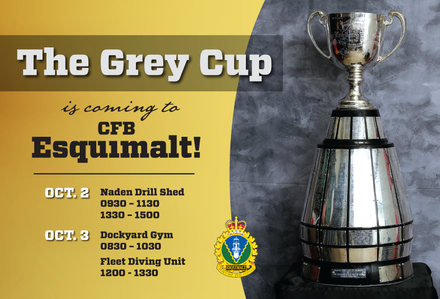 Grey Cup touches down in Esquimalt